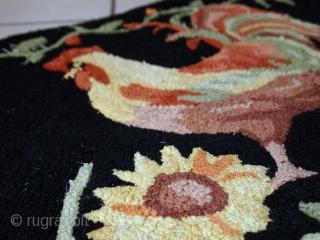 Handmade vintage American hooked rug 1.6' x 2.6' (50cm x 80cm) 1960s - 1C462