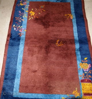 Handmade antique Art Deco Chinese rug 3' x 4.11' ( 91cm x 151cm) 1920 - 1B578