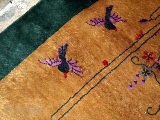 Handmade antique Art Deco Chinese rug 4' x 6.7' ( 122cm x 204cm) 1920 - 1B581