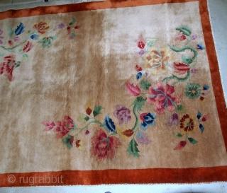 Handmade antique Art Deco Chinese rug 4.1' x 6.5' ( 125cm x 198cm) 1920 - 1B582
