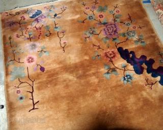 Handmade Art Deco Chinese rug 4.1' x 6.7' ( 125cm x 204cm) 1930s - 1B583