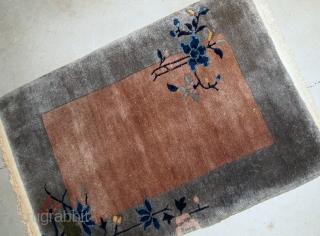 Handmade antique Art Deco Chinese rug 2' x 3.1' ( 61cm x 94cm ) 1920s - 1B609