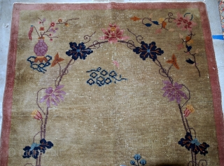 Handmade antique Art Deco Chinese rug 4.1' x 6.7' ( 125cm x 204cm ) 1920s - 1B611