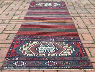 Antique Anatolian kurdish heybe opened runner kilim in perfect condition .  312 x 74 cm pure wool natural dyes