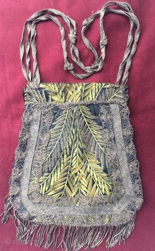 Ottoman silk purse with silver tassel,30 x 26 cm . www.eymen.com.tr