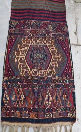 Anatolian kurdish saddle bag with weaving kilim opened,264 x 78 cm