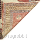 ca 1900 Senneh rug with interesting animal motifs. Even wear and damages as shown on the picture.   195x140 cm.