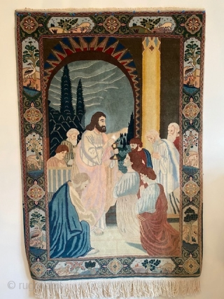 70s Tabriz Pictorial rug depicting Jesus.  Full pile but needs a wash.  150 x 100 cm.