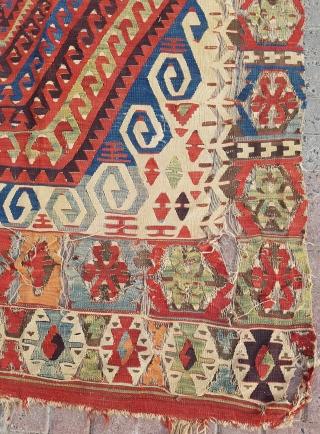18.century Anatolian Kilim sıze 150 ×476