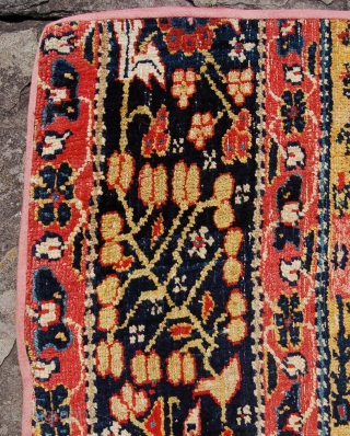Interesting Persian runner fragment. Possibly Senneh or even bakshaeesh. Circa 1800. 274 x 107. A similar piece is published in Burn's Kurdish rug book. Beautiful what ever it is.