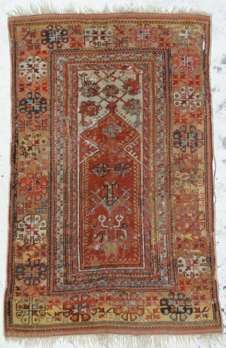 An Antique Anatolian melas rug, it's size is 144 x 90.