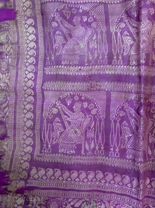 Baluchuri pallu fragment from murshidabad district of West Bengal India 1900 C, with the very nice subject lady playing musical instrument the pallu has some holes and it's fragile the pallu has  ...