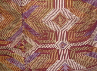 a rare  wedding blanket made of 2 strips of silk woven with supplementary weft. tai group, xiengkhuang province, lao. early 20th century.