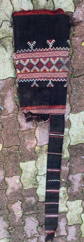 very rare south moroccan moukhala bag, ait ouaouzguite people, goat hair, wool..early 20th century. length 165cm ex bert flint collection marrakech.