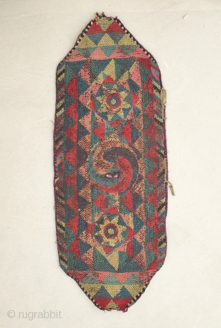 now with better light..!  tibetan yak trapping with protectiv amulett. a rare textile work from the changtang nomads. wool on wool embroidery, early 20th century