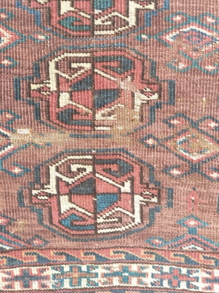 turkmen chuval,yomudish,battered,very odd drawing, some red wefts,some cotton wefts, old repairs, ...