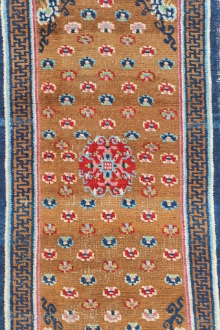very beautiful 19th century tibetan khaden with saturated natural colors and top wool. no restorations, some spots of low pile to the background.