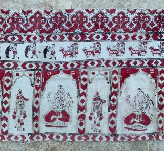antique kalamkari  printed and painted cotton panel recently found  in tibet not expensive... originally probably an indian temple wall hanging or so 163x 51cm