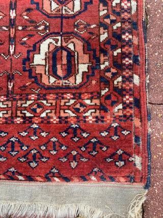 turkmen wedding rug..odd one good in pile need a good wash!