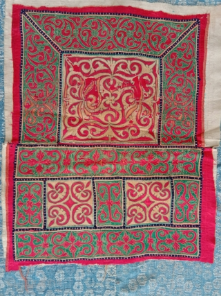 fantastic southwest china miao baby carrier panel with horse tail hair outlining structure overcasted with silk threads. best of type...