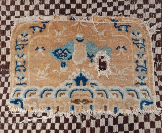 ningxia lama throne back fragment with top wool and colors, elongated fo dog with saddle.on his back... nice early 18century piece for little money