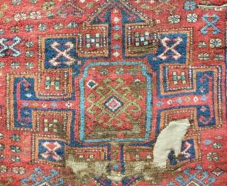 Circa 1800 East Anatolian Kurdish rug fragment. Conserved and mounted on linen. Good pile!