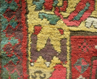 Full pile Persian Kurdish long rug. Playfull drawing with a very cool border. Exceptional color.  Circa 1870.