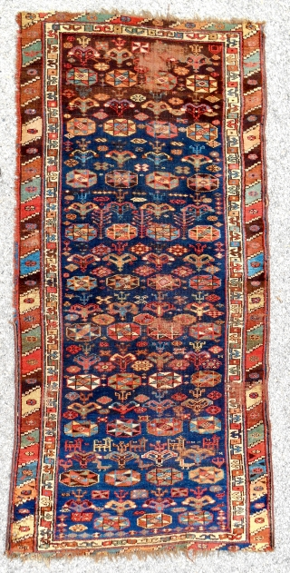 Rare Northwest Persian Shahsavan rug. (3ft x 7ft) Circa 1850-70. Mostly even, medium pile. Great saturated color!