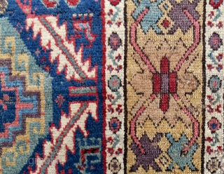 """C. 1820-40 NWP Kurdish rug with a Memling gul and serrated leaf design. (39"""" x 95"""") Mostly decent pile. 14 distinct colors including an old aubergine and true camel wool. Original kilim  ..."""