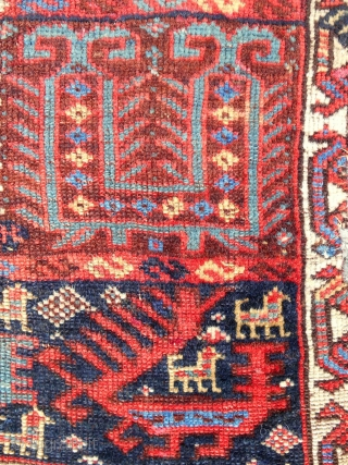 "Dragons! Extremely rare and fine Qashqai Khorjin face (32""x 18"") Early 19th c. (see ""Tribal Rugs"" by MacDonald, plate 103)"