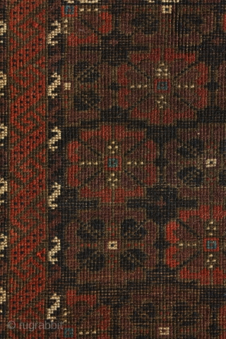 """""""Flowers grow out of dark moments."""" Corita Kent. Rare 'Duh-Göl' baluch balisht, 19th century. In perfect condition, full pile. A simplified version of the 'mina-khani' design? No other balisht known with mina-khani  ..."""