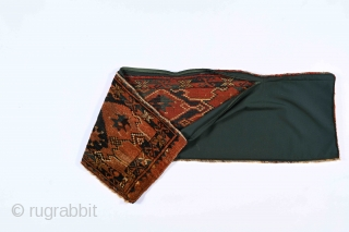 Funky Ersari torba with a lot of asymmethry and movement, early 20th century. Soft wool, floppy handle. Turned into a cushion with a zip on the back. More here : http://rugrabbit.com/profile/5160