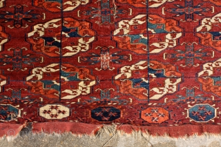 """The knowledge of which geometry aims is the knowledge of the eternal."" Plato Turkmen Tekke main carpet, early to mid 1800's. Burning colors after 150-200 years .... More beauties: http://rugrabbit.com/profile/5160"