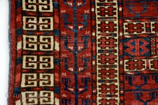 """""""Remember, the entrance door to the sanctuary is inside you."""" Rumi Turkmen Tekke 'Ensi' (yurt door rug). 19th century. Unusually small size. A very well preserved example from a rare group of Tekke Ensis  ..."""