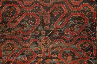 Mythic turkmen Beshir 'snake/dragon/cloudband' main carpet from the 19th century. 