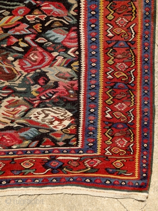"""Do not copy nature too much. Art is an abstraction."" Paul Gauguin. Kurdish kilim, Senneh, Persia, ca. 1900. Intact, original, perfect condition. Extremly powerful, abstract drawing. Note the 2 hiding birds along  ..."