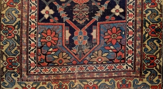 North-west persian kurdish 'double-mihrab' rug, 19th century. Non-commercial, tribal/village work with great colors & bold drawing. Ancient S-hooked border! Stylized dragons defending a blooming 'mina-khani' field of life. More pieces: http://rugrabbit.com/profile/5160