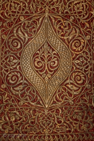 One of the highlights of the embroidery-craftmanships ... a ceremonial luxury wall hanging, so called Haiti, Morocco, mid 1800's Golden embroidery on luxury velvet & leather! For an identical example please see  ...