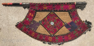 Swat Valley Ceremonial Fan with lacquered handle, pewter ornaments and silk embroidery, 1st half 20th cent. Some losses in the beaded edge.