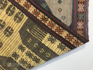 Indonesian textile (Sumba), warp faced weave with design in supplemental warps, 137 x 43 cms (T013)