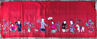 Chinese hand embroidered silk panel, 90 x 35 cm, probably early 20th century or late nineteenth. Paper backing still in place with partly legible text in Chinese characters.
