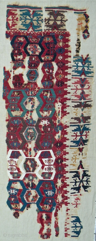 Archaic southeast Anatolian kilim fragment, 207 x 77 cms, professionally mounted on linen. Highly saturated colours. Rare to see such a deep gold in a piece from this region and is an  ...