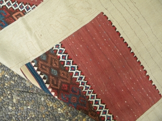 """East Anatolian kilim fragment, 241 x 86 cms; 19th century; this type with sections of four connected white wool bands is usually attributed to the Malatya area (see for example, Petsopoulos """"Kilims"""",  ..."""
