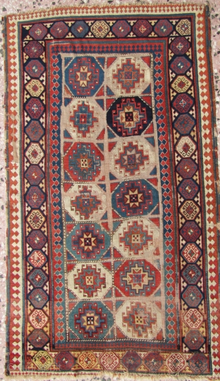 Early 19th century Shahsevean rug. Soft and floppy with lustrous wool and a very old back. Oxidized browns. 123x213cms.