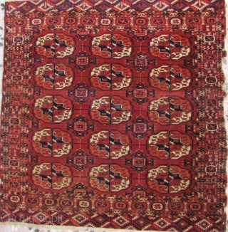 "Tekke ""dowry"" rug. First half 19th century.Proportions, color, beautiful secondaries and a fine weave. Two re-weaves. Small discoloration on upper border. 103x104cms"