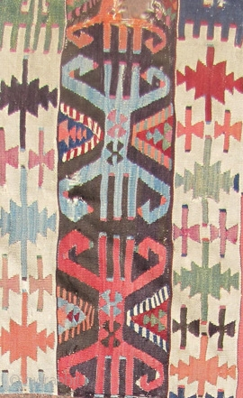 "Three early kilim fragments. East/central Anatolia. Dimensions 3'1""x2'6"",3""x2'5"",5'9""x2'3"". There is a sureness of purpose in the drawing and in the uncluttered spacing of the secondary motifs that speaks to me of age.  ..."