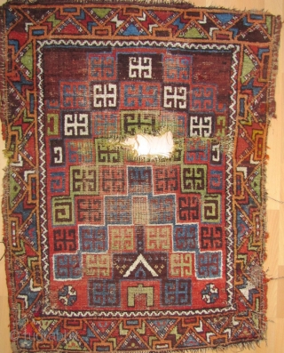 Central Anatolian prayer rug (Karaman area?) C1870 with an original and creative rendering of ascending niches previously unknown to me. Camel hair wefting(dyed green in the center of the rug) with occasional  ...