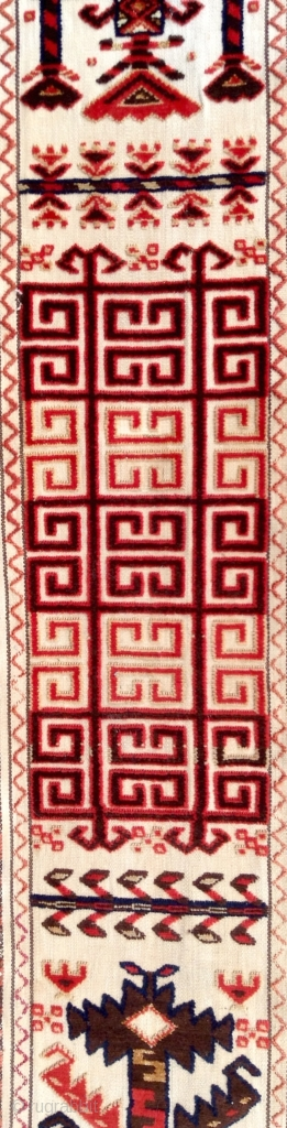 This rare tent band with silk highlights is a survivor from the height of Karakalpak material culture. While, generally, age is associated with quality in Central Asian weavings, in the case of  ...