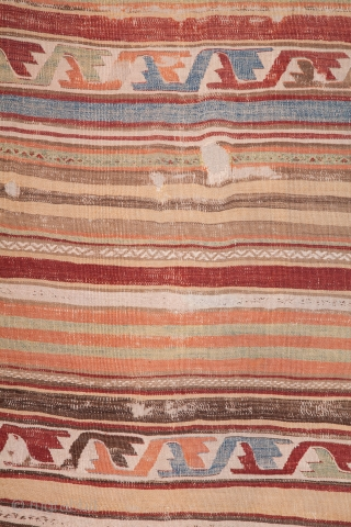 Central Anatolian kilim. Mid 19th century (?). Beautiful, soft pastel colors. Expertly backed with a high quality linen. Ready for display or even use. It has a soft presence.  317x140cms
