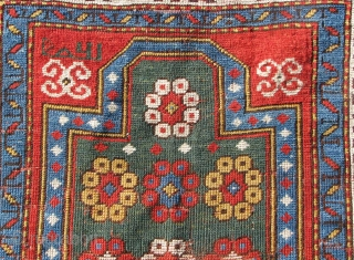 """Fachralo Kazak Prayer Rug. An uncommon variant on the standard Fachralo design. Compare Kaffel """"Caucasian Prayer Rugs"""" plate 20.  Dated 1280(?) which would put it into the 1860's and seems  ..."""